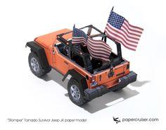 """Stomper"" Tornado Survivor Jeep JK paper model | papercruiser.com"