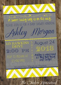 CUSTOM 5x7 printable navy and yellow chevron mod boy baby shower invitation!