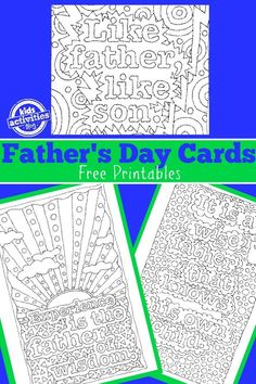 Free Father's Day Doodle Art Cards to Color - jully Father's Day Activities, Kindergarten Activities, Daddy Day, Father's Day Diy, To Color, Color Art, Fathers Day Crafts, Holidays With Kids, Happy Birthday Cards