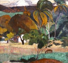 "Paul Gauguin ""Apatarao Landscape from Tahiti. Paul Gauguin, Henri Matisse, Gustav Klimt, Gauguin Tahiti, Impressionist Artists, Richard Diebenkorn, Joan Mitchell, European Paintings, Vintage Artwork"