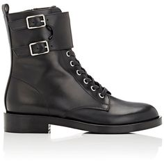 Gianvito Rossi Women's Lagarde Combat Boots ($1,345) ❤ liked on Polyvore featuring shoes, boots, ankle booties, ankle boots, black, black lace up booties, black military boots, black low heel booties, lace up booties and black leather bootie