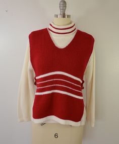 Vintage Women's SWEATER SET Bib over Turtleneck Heritage Knitwear made in usa acrylic by ilovevintagestuff on Etsy