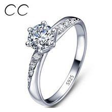 Classic Jednoduchý design White pozlacené zásnubní prsteny pro ženy CZ Diamond svatební prsten šperky Anillos Bijoux jako dárkové CC061 (Čína (pevninská část))