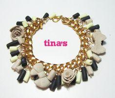 Bracciale handmade in fimo e cernit con catena dorata e perle e rose nere - beige ..., by Tina's - HandMade Fimo & Cernit Jewels, 12,00 € su misshobby.com
