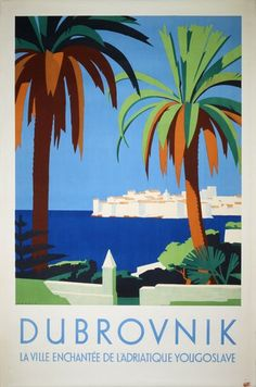 View this item and discover similar for sale at - Original vintage travel advertising poster for Dubrovnik – The Gem of the Jugoslav Adriatic. Stunning Art Deco style illustration by Hans Wagula Party Vintage, Vintage Art, Vintage Gifts, Original Vintage, Art Deco Posters, Vintage Travel Posters, A4 Poster, Poster Prints, Tourism Poster