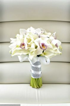 Wedding Bouquet Orchids Calla Lilies Roses Bridal White Real Touch