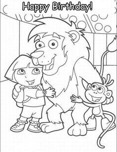 dora happy birthday coloring pages - photo#13