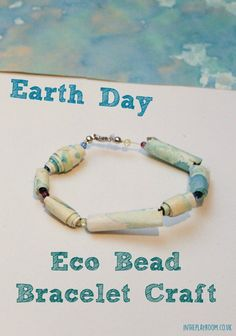 Earth Day eco bead bracelet made from upcycled kids artwork