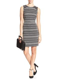 Mesh-Inset Jacquard Sheath Dress