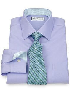 Non-Iron 2-Ply 100% Cotton Textured Solid Spread Collar Dress Shirt from Paul Fredrick