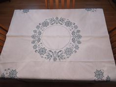 Vintage White Table Cloth with Blue Floral by #PaulasVintageAttic, $12.99  #Vintage Tablecloth #VintageLinens