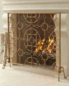 Shop Spiral Three-Panel Firescreen at Horchow, where you'll find new lower shipping on hundreds of home furnishings and gifts. Gold Fireplace Screen, Fireplace Beam, Fireplace Built Ins, Concrete Fireplace, Fireplace Screens, Fireplace Design, Fireplace Mantels, Electric Fireplace, Country Fireplace