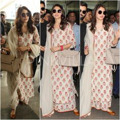 Airport Style : Anushka Sharma in Sabyasachi Indian Attire, Indian Ethnic Wear, Indian Outfits, Indian Dresses, Pakistani Dresses, Cotton Dress Indian, Dress Indian Style, Trendy Dresses, Simple Dresses