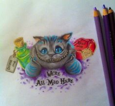 We're all mad here by CreativeCurseKina on deviantART. Pretty much what I'd want for an Alice in Wonderland tattoo. Great Tattoos, Unique Tattoos, Beautiful Tattoos, Cheshire Cat Tattoo, Chesire Cat, Cheshire Cat Drawing, Foot Tattoos, Body Art Tattoos, Sleeve Tattoos