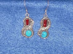 Vintage Native American Coral Turquoise Earrings Handcrafted Navajo