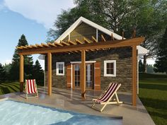 Charming pool house plan with pergola will make a nice addition to your backyard featuring a full bath and gathering space; Barn Plans, Garage Plans, Shed Plans, Pool House Designs, Pergola Designs, Building Plans, Building A House, Small Pool Houses, Pool House Plans