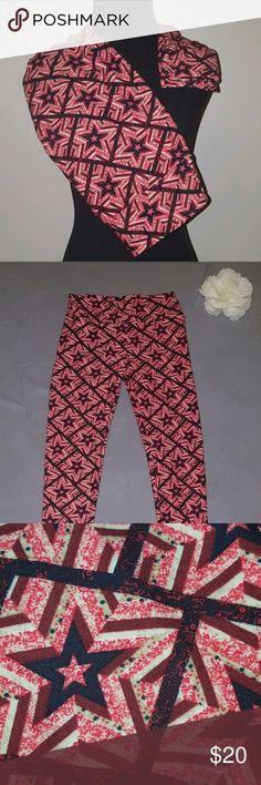 "LulaRoe Leggings Red Americana Stars LulaRoe Leggings Red Americana 4th of July Stars One Size  Excellent condition  Waist 24"" Length 34"" Inseam 25"" Ankle 8"" LuLaRoe Pants Leggings"