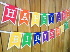 Custom Rainbow Banner, Banner, Birthday Banner, Happy Birthday Banner, Birthday Decorations, Girl Birthday, First Birthday, Rainbow party by JaeMakes on Etsy