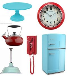the walls will be aqua, love the red accents. I already have a few red appliances.