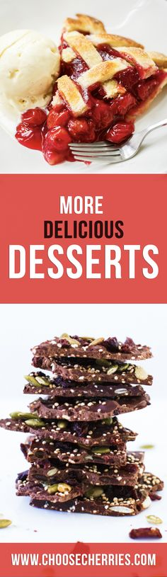 Ready for more delicious desserts? Try your hand at a Montmorency Tart Cherry Pie or a Dark Chocolate Cherry Quinoa Bark for a sweet treat you're sure to enjoy! Read on for decadent dessert recipes. #CherryWithMore