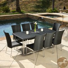 @Overstock.com - Christopher Knight Home Fairfield 9-piece Outdoor Dining Set - Enjoy the scenery with this nine-piece outdoor dining set from Christopher Knight Home. This set features a distinctive all-black wicker design. Constructed for eight people, this set is sure to provide enough room for friends and family.  http://www.overstock.com/Home-Garden/Christopher-Knight-Home-Fairfield-9-piece-Outdoor-Dining-Set/7818809/product.html?CID=214117 $854.99
