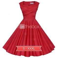 Maggie Tang Women's Black/Red/Blue 50s Vintage Swing Midi Dress,Plus Size - USD $39.99