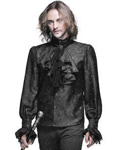 Devil Fashion Mens Gothic Shirt Top Black Steampunk Regency Aristocrat + Cravat #DevilFashion #CasualShirts