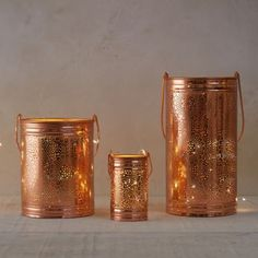 Copper Floral Hurricane in House + Home Lighting + Candleholders at Terrain