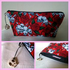 HANDMADE, REPURPOSED, Upcycled, Red skulls & roses Make-up Bag / Pouch - £7.00