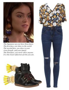 Aria Montgomery - pll / pretty little liars by shadyannon on Polyvore featuring polyvore fashion style Sandro Isabel Marant BaubleBar clothing