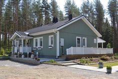 Kuutar 4h + k + s, 101,5 m². Kodikas Älvsbytalo metsämaisemassa.