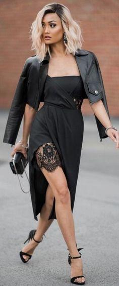 Black dress outfits for fall recipes - Fashion dresses news Look Fashion, Womens Fashion, Curvy Fashion, Dress Fashion, Davids Bridal Bridesmaid Dresses, Bridal Dresses, Style Noir, Look Girl, Mode Chic