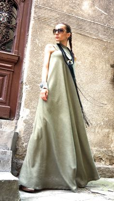NEW  Maxi Dress / Olive Green Kaftan Linen Dress / One by Aakasha