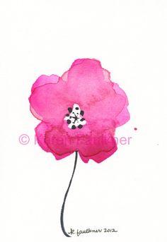 Spring Pink original watercolor flower by karenfaulknerart on Etsy, $20.00