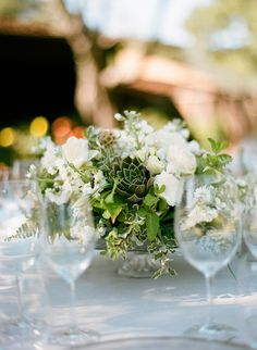 Green + White Centerpiece | See the wedding on SMP: http://www.StyleMePretty.com/2014/02/20/gilroy-california-ranch-wedding/ Photography: Silvana DiFranco