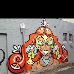 Tribal style Princess mural - graffiti wall art St Peters Sydney Australia