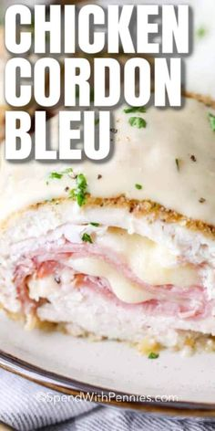Tender chicken wrapped around slices of ham and swiss cheese, this Easy Chicken Cordon Bleu recipe a favorite. Baked instead of fried, this dish is simple to prepare and topped with a creamy dijon sauce! #spendwithpennies #chickencordonbleu #casserole #dinnerparty #bakedchickencordonbleu #chickenrecipe #maindish #easychickencordonbleurecipe Baked Chicken Cordon Bleu, Oven Baked Chicken, Chicken Cordon Bleu Casserole, Hamburger Casserole, Cheesy Chicken, Chicken Cordon Blue Easy, Best Chicken Cordon Bleu Recipe, Grilled Chicken, Cooked Chicken