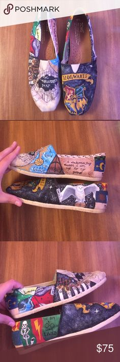 """HP 6/26 Style Obsessions Harry Potter TOMS I DID NOT MAKE THESE. I had them made for me. They are absolutely gorgeous """"natural"""" canvas TOMS with hand painted Harry Potter designs. I only wore them once because they were just too beautiful for me to wear. They have been sprayed with clear spray paint to seal them but could be sprayed again. Light wear on soles and back of heels. Nothing major. I put a lot of money into these beauties and I hate to let them go but they need a home where…"""