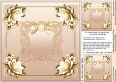 Cream Roses on a Lace Frame matching 8inx8in Insert Plate by Sue Douglas This is the matching 8in x 8in Insert Plate sheet for the Cream Roses on a Lace Frame 8in x 8in Decoupage Mini Kit design, Also included on the sheet are two smaller panels to place on to the back and the inside left of your finished card. If you would like to see the Decoupage sheet that matches this design, please go to the Related Sheets option. Instructions are included on this sheet. To see my full range of…