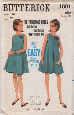 Butterick 4601 1960s Misses Dress Pattern Easy by mbchills on Etsy