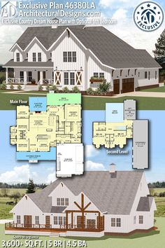 Plan Exclusive Country Dream House Plan with Optional Bedroom Architectural Designs Exclusive Farmhouse Plan gives you 5 bedrooms, baths and sq. Where do YOU want to build? Country House Plans, New House Plans, Dream House Plans, My Dream Home, 6 Bedroom House Plans, Country Farmhouse, Farmhouse Home Plans, Farmhouse Layout, Farmhouse Renovation
