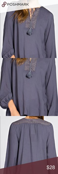 ❗️FLASH SALE❗️Peasant blouse Faux suede yoke and shoulder with silver studs. Tassel tie front.  100% rayon. Generously sized. Slate blue color. PRICE FIRM UNLESS BUNDLED s19 A Bohemian Child Tops Blouses