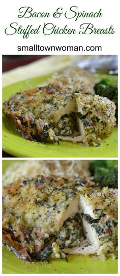 These are simple enough to prepare for the family dinner or fancy enough to cook for that dinner party that you were thinking about having.  Chicken breasts are relatively easy to split and stuff.  This chicken breast is stuffed with bacon, spinach, garlic, cream cheese, Swiss and Monterey Jack!  It is then rolled in breadcrumbs that have been seasoned perfectly and baked until golden perfection.