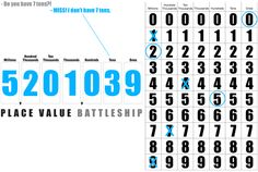 math game : battleship to practice number place values. sweet. (from 2 Sisters that Teach + E is for Explore!)