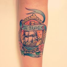 """""""Twenty years from now you'll be more disappointed by the things you didn't do than the ones you did do. So throw off the bowlines, sail away from the safe harbor, catch the trade winds in your sails. Explore. Dream. Discover."""" ~Twain.  Tattoo by John Sweet-Uptown Tattoo."""