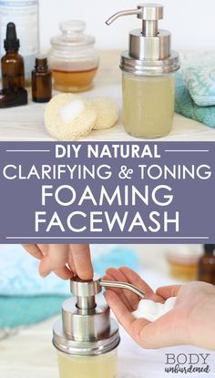 This DIY all-natural foaming facial cleanser includes ingredients that help clar. - - This DIY all-natural foaming facial cleanser includes ingredients that help clarify and tone the skin, as well as ingredients that are extra-gentle an. Homemade Skin Care, Diy Skin Care, Skin Care Tips, Homemade Beauty, Homemade Face Cleanser, Homemade Face Wash, Natural Acne Remedies, Skin Care Remedies, Herbal Remedies