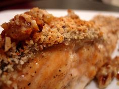 Pecan Alaskan Baked Salmon--  2 tablespoons Dijon mustard  2 tablespoons butter, melted  1 tablespoon honey  1/4 cup fresh bread crumbs  1/4 cup finely chopped pecans or walnuts  2 teaspoons chopped fresh parsley  4 (6-ounce) salmon fillets or steaks  This sounds so good
