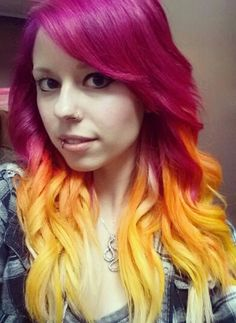 Yellow ombre dyed hair