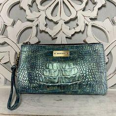 Brahmin Millie Clutch Wristlet Metallic Blue Green Aqua Leather | eBay Brahmin Handbags, Brahmin Bags, Michael Kors Jet Set, Blue Green, Metallic Blue, Leather, Ebay, Color, Style