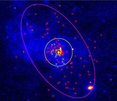 Hide and seek Scientists used the Chandra X-ray telescope to seek black holes (circled in blue) in the inner 3.26 light-years of the Milky Way (circled in yellow). The small red circles denote other objects that emit X-rays, like neutron stars or white dwarfs, that are found scattered around more of the galaxy.